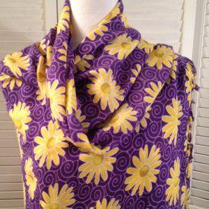 Unbranded Purple Swirl Yellow Daisey Fringed Scarf